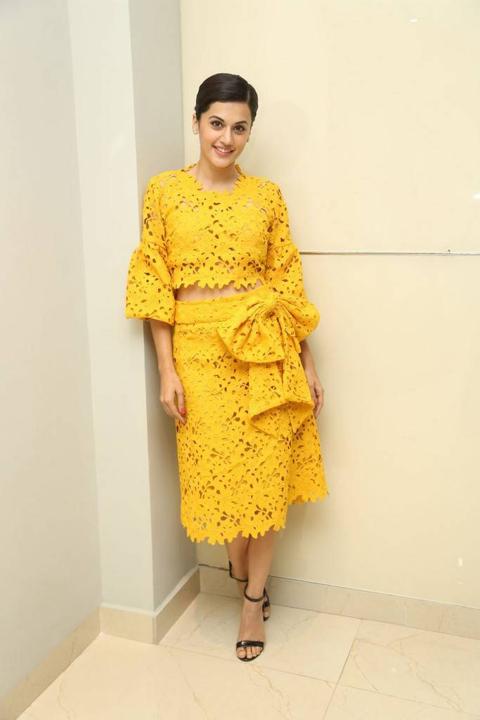 Taapsee Stills At Movie Press Meet In Yellow Dress