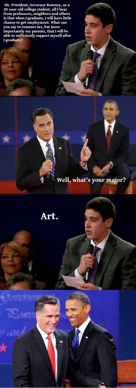 Funny Art Graduate Obama Romney Question - Mr President, Governor Romney, will I be able to support myself after I graduate?
