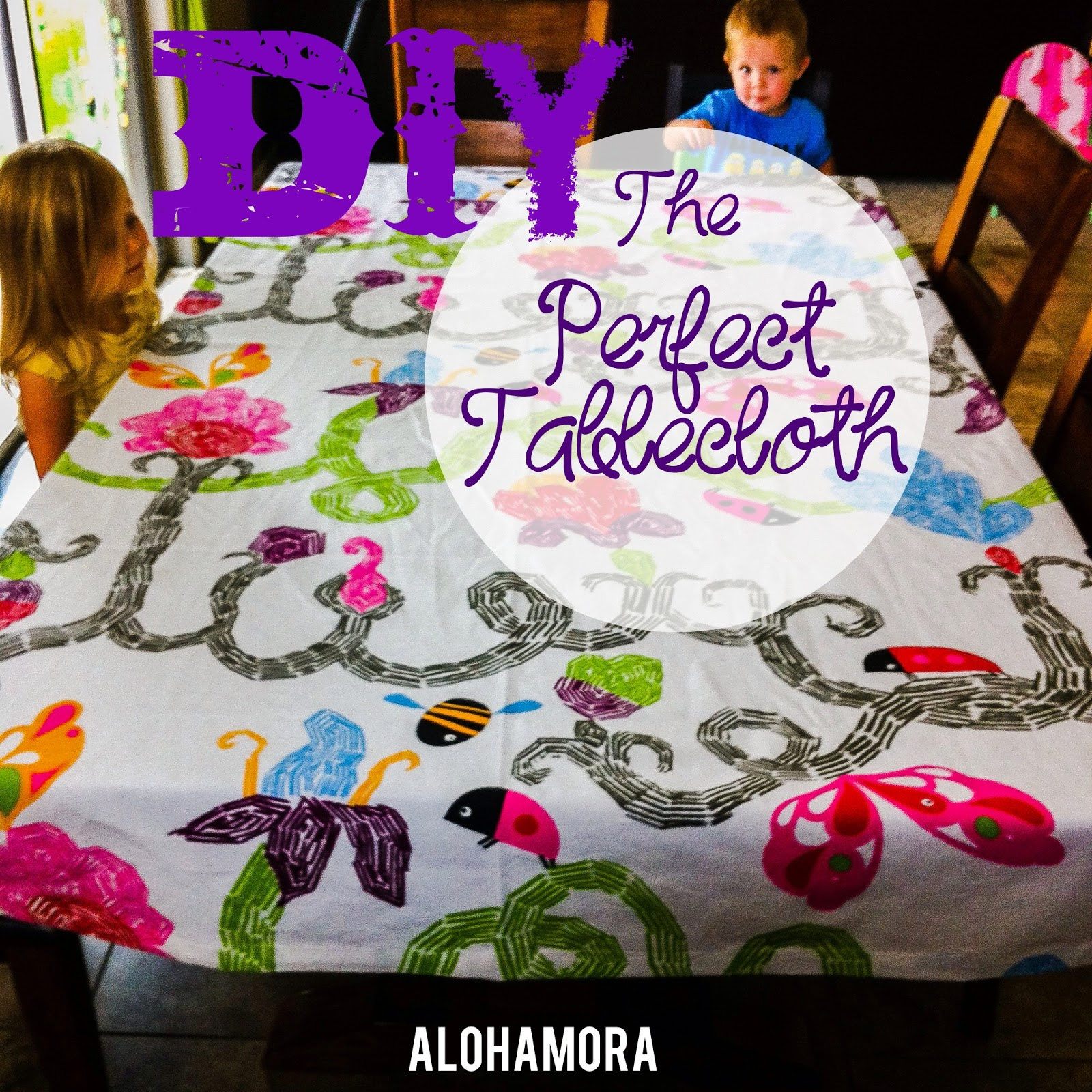 DIY the perfect sized tablecloth with fabric that is cheap/affordable and cute.  Easy sewing project that takes no longer than an hour. Alohamora Open a Book http://alohamoraopenabook.blogspot.com/