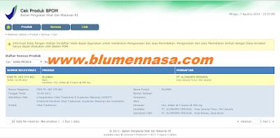 Blumen nasa terdaftar di BPOM