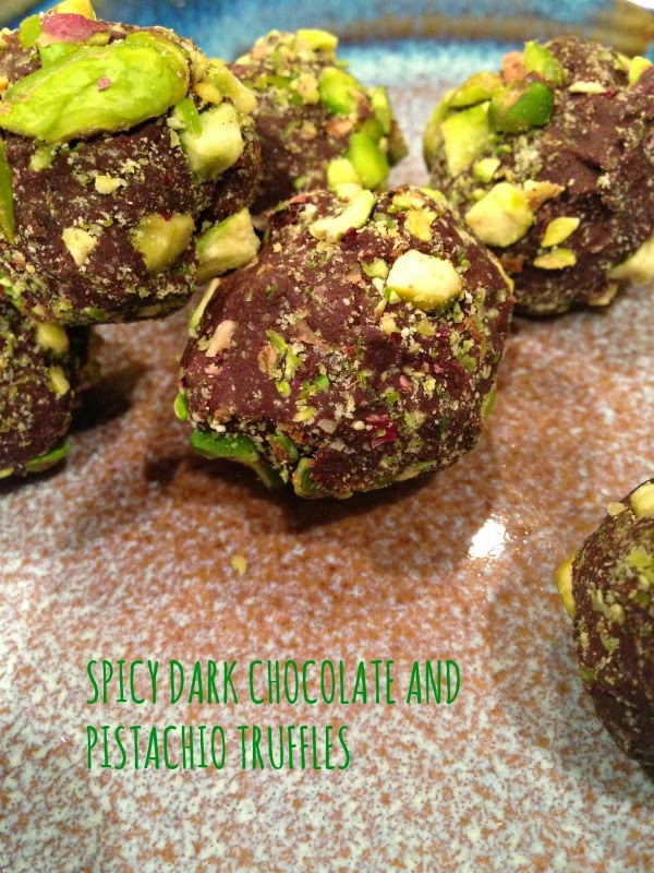 spicy dark chocolate pistachio truffles - so easy to make!