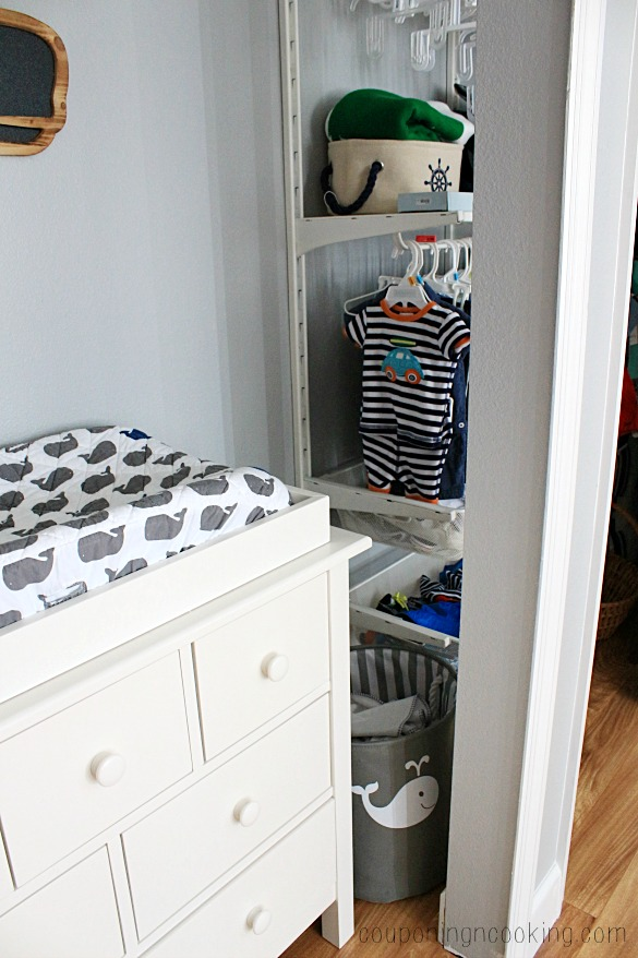 this meant that we had to get creative to make space for our changing table area by taking the doors off of one side of the nursery closet we were able to
