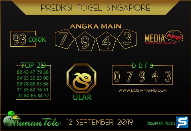 Prediksi Togel SINGAPORE TAMAN TOTO 12 SEPTEMBER 2019