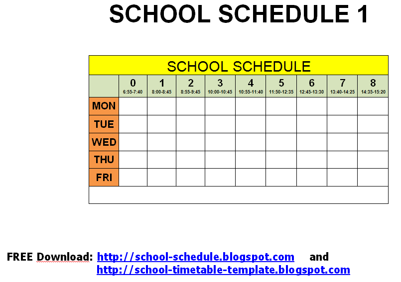 and templates to print free school schedule printable template – Schedules Templates Free