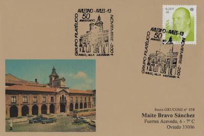 Tarjeta del 50 aniversario del Grupo Filatélico Avilesino: Avilés Villa Milenaria, Ayuntamiento