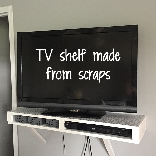 TV shelf made from scraps