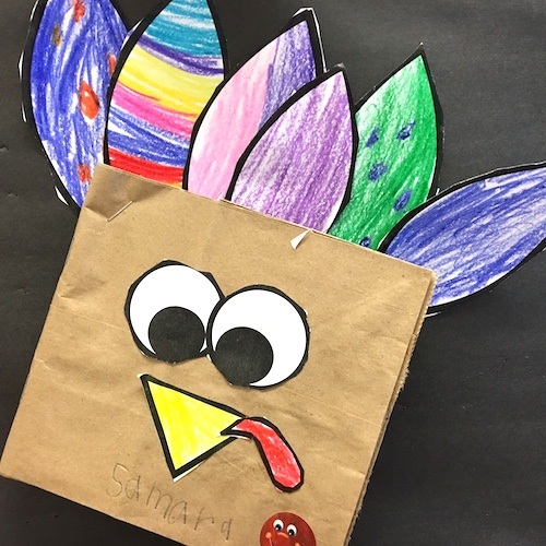 Lots of Thanksgiving Ideas for the primary classroom (K to 2). Roll a Feather math game, Patterned Turkey art, Turkey Bump, Thankful Turkey booklets and MORE! All but one is FREE. #thanksgiving #gradeonederful #firstgrade #thankful #thanksgivingwriting
