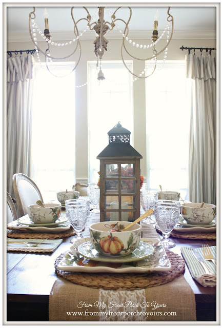 Fall TableScape-French Country- Farmhouse-Fall Dining Room-From My Front Porch To Yours
