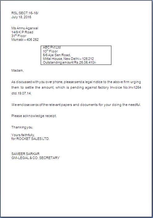 Letter Format For Taking Legal Action Sample Template Example of ...
