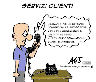 servizio clienti, risponditori automatici, umorismo, vignetta