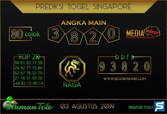 Prediksi Togel SINGAPORE TAMAN TOTO 03 AGUSTUS 2019
