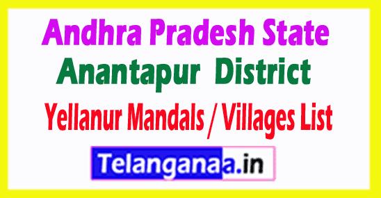 Yellanur Mandal Villages Codes Anantapur District Andhra Pradesh State India