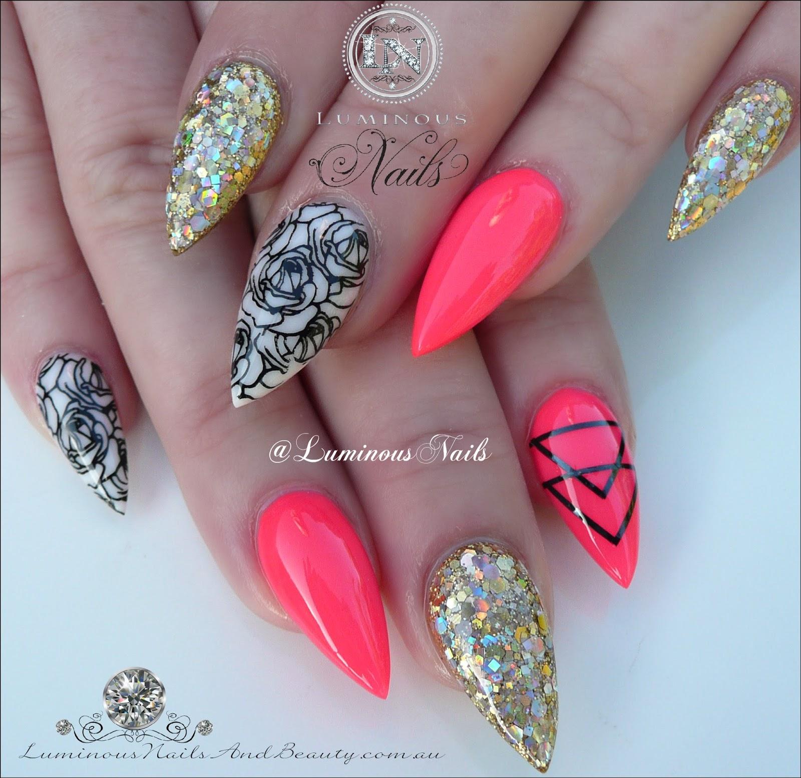 Luminous Nails: Neon Raspberry, Gold, White Acrylic Nails with ...