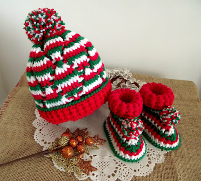 christmas baby hat booties