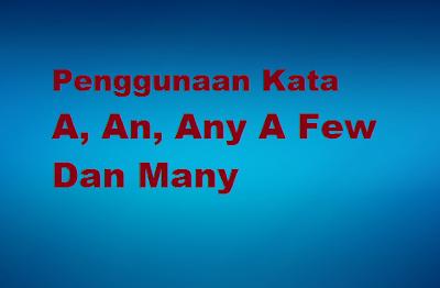 Prosedur penggunaan kata A, An, Any A Few Dan Many dalam kalimat
