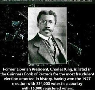 charles king, liberian president in 1927, guinness book of records