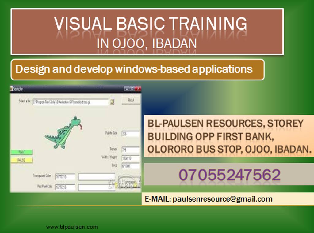 BL-Paulsen blog: VISUAL BASIC TRAINING in Ojoo, Ibadan