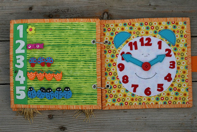 Quiet book, fabric busy book, Handmade by TomToy, Clock Counting