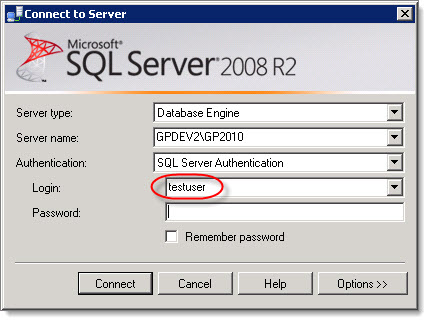 Dynamics Gp Land Clearing Remembered Default Login For Sql Server