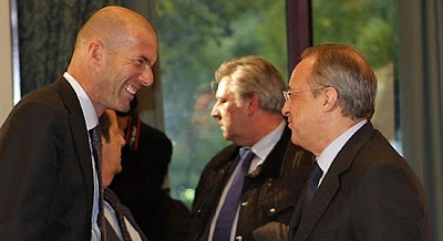 Florentino Perez and Zinedine Zidane attending a meeting