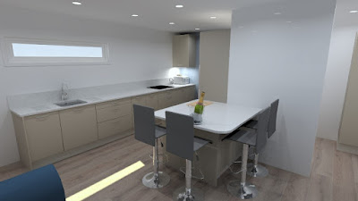 Computer generated view of the proposed kitchen