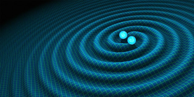 Artist impression of gravitational waves generated by binary neutron stars. Image: R. Hurt, Caltech / JPL
