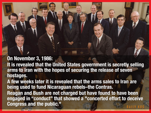 President Ronald Reagan, VP George WH Bush and his cabinet in the oval office 1986. Quote from Daily Kos about the Iran Contra Affair