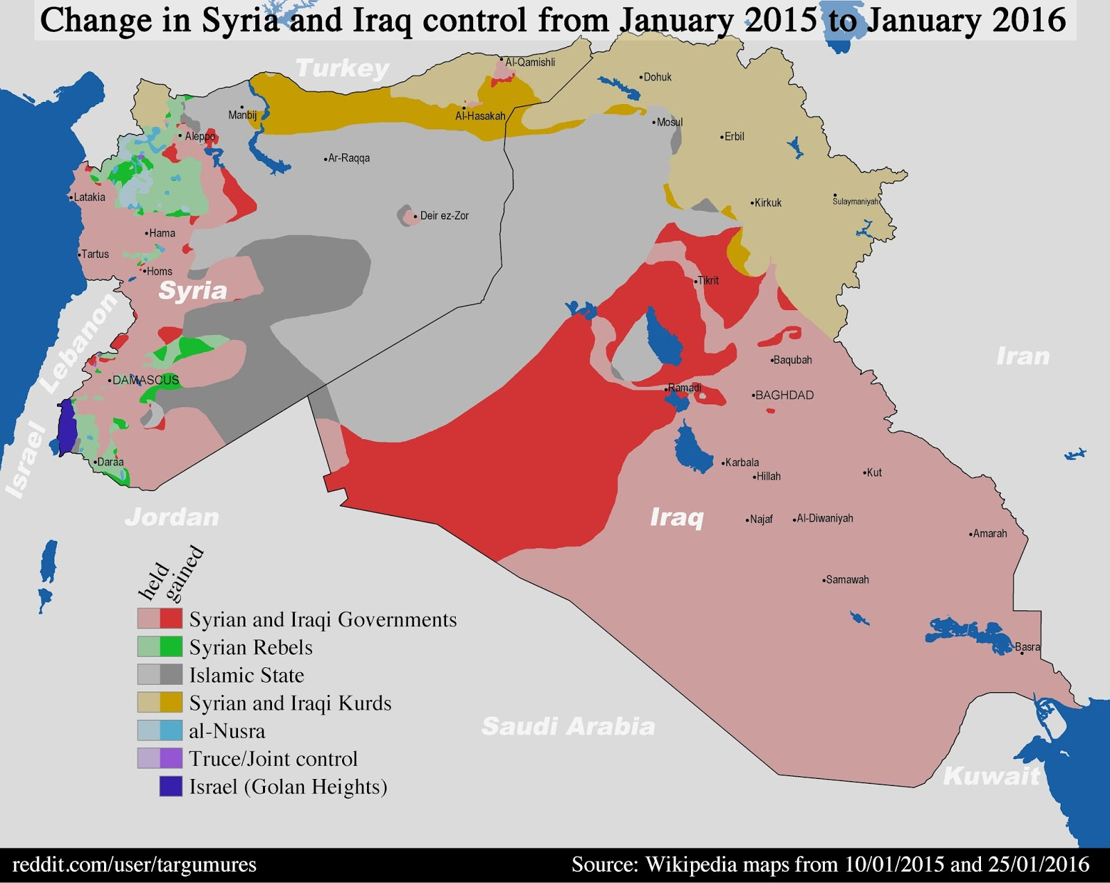 Changes in who controls territories in Syria & Iraq (January 2015 - January 2016)
