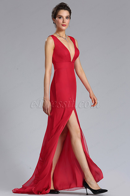 Red Sexy A-Line Bridesmaid Dress Evening Gown
