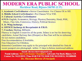 Modern Era Public School Wanted PGT Teachers/Academic Coordinators