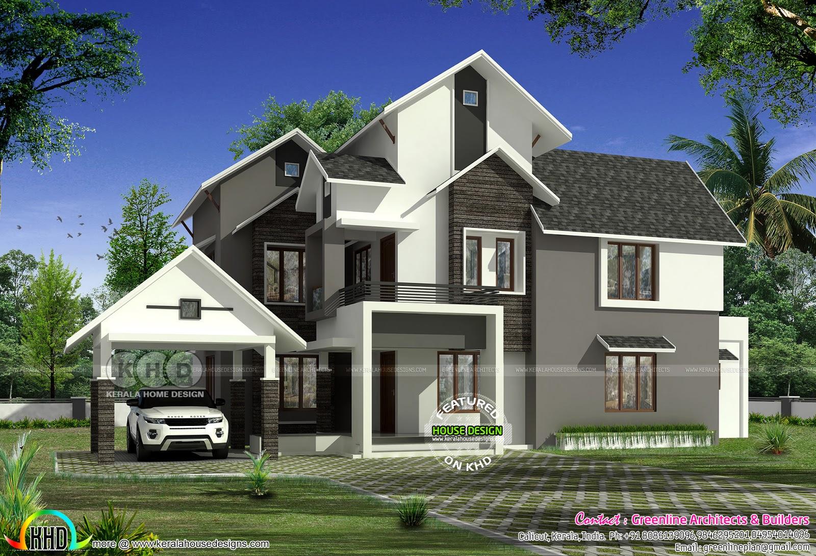 2850 Sq Ft 4 Bedroom Modern Sloped Roof House Kerala
