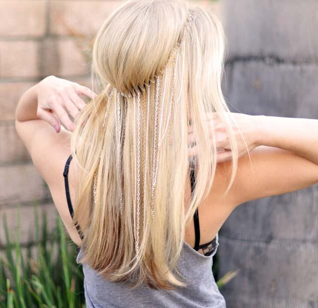 zincirli saç aksesuarı modelleri