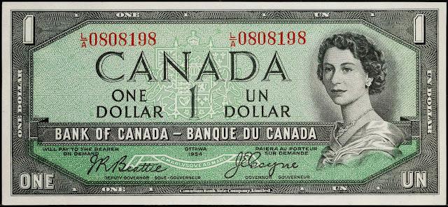 Canadian Banknotes 1 Dollar banknote 1954 Queen Elizabeth II