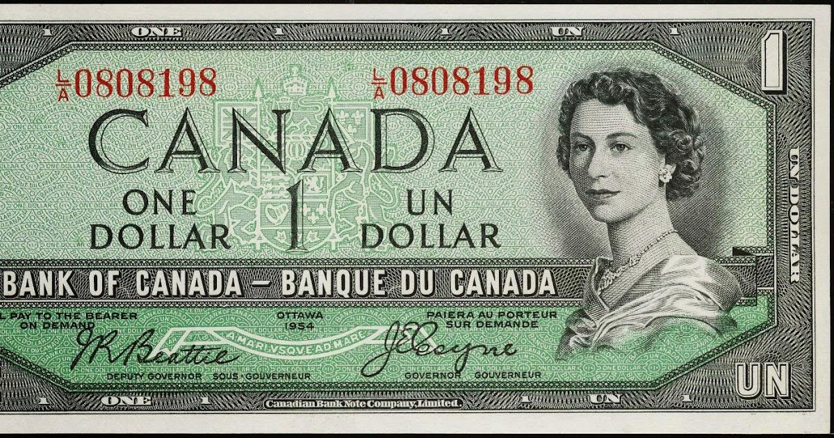 Canada 1 Dollar Banknote 1954 Queen Elizabeth Ii World