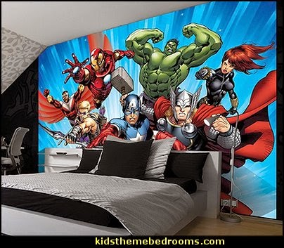 Decorating theme bedrooms maries manor superheroes for Comic book wallpaper mural