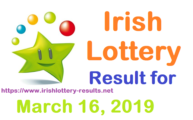 Irish Lottery Results for Saturday, 16 March 2019