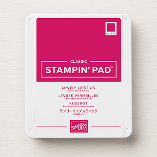 This image shows a photograph of the Lovely Lipstick Classic Stampin' Pad ink pad by Stampin' Up!