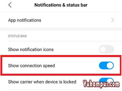 cara menampilkan pemberitahuan kecepatan internet xiaomi