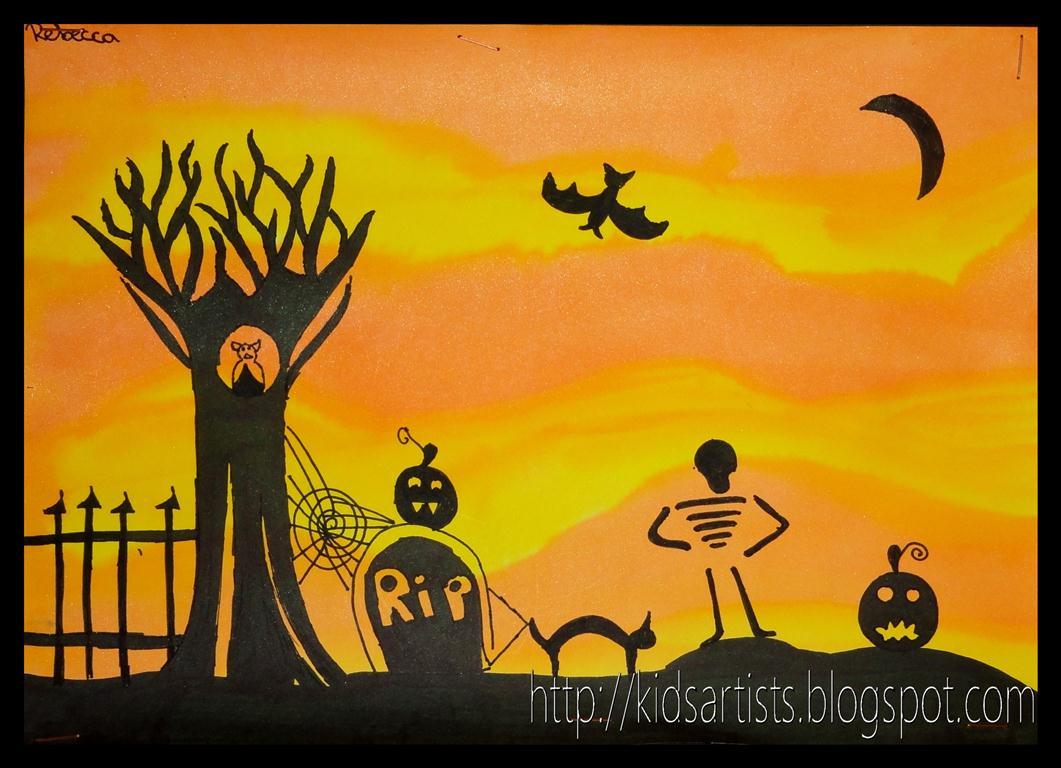 Kids Artists: Halloween scene