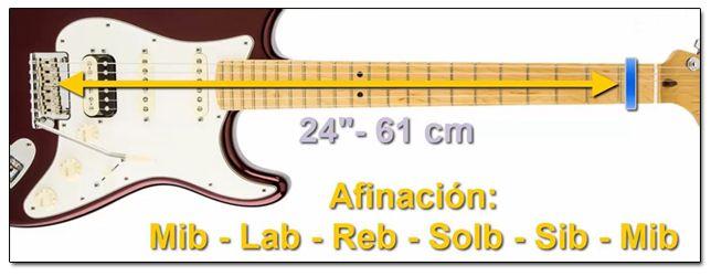 Longitud de Escala de 24 Pulgadas en Guitarra
