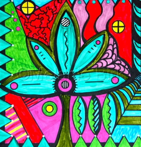 "Colorful Original Contemporary Art ""Patterns and Petals"" by Santa Fe Artist and Designer Melanie Birk"