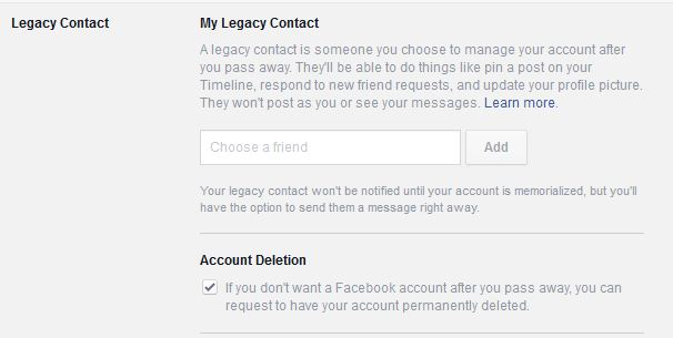 Legacy contact for Facebook