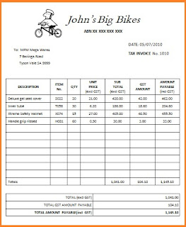 tax invoice template excel