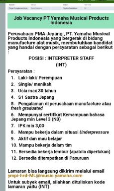 Informasi lowongan kerja PT. Yamaha Musical Products Indonesia  Bagian (INTERPRETER STAFF)