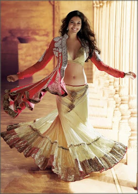 Photo Of Model Looking Gorgeous In Indian Fusion Wedding Dress.