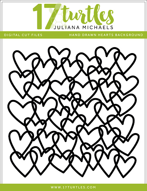 Hand Drawn Hearts Background Free Digital Cut File by Juliana Michaels