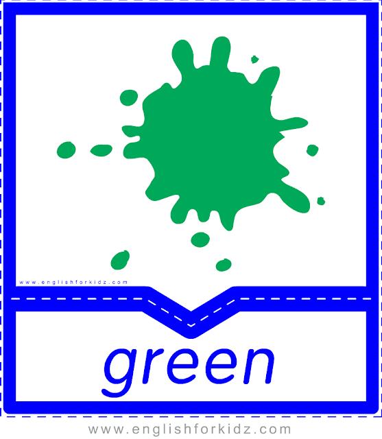 Printable colors flashcards - green - ESL printables