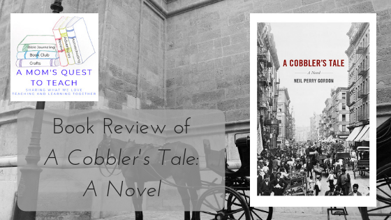 Cover of A Cobbler's Tale: A Novel and a photo of New York City