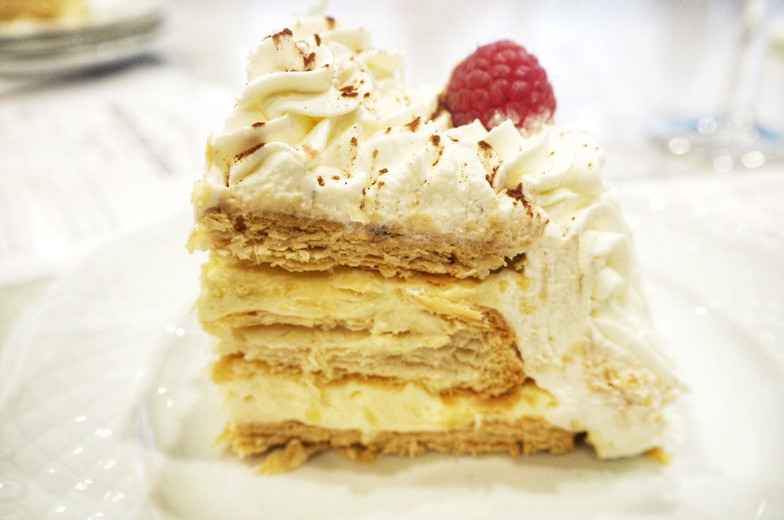 Fruit topped Italian wedding cake serving