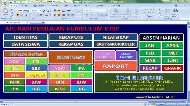 Aplikasi Penilaian Raport dan Absen Harian untuk SD Kurikulum KTSP Format Microsoft Excel
